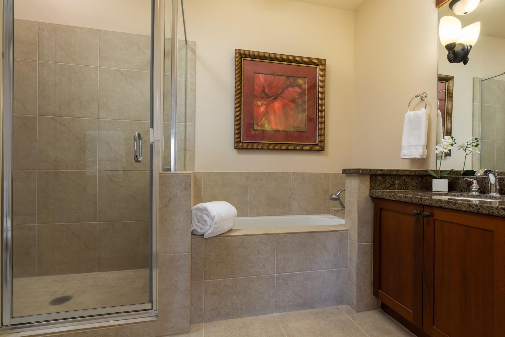 Take a bath in the soaking tub or enjoy the walk-in extra large shower.