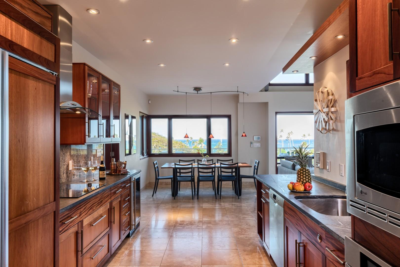 The second floor kitchen comes equipped with a beautiful ocean view!