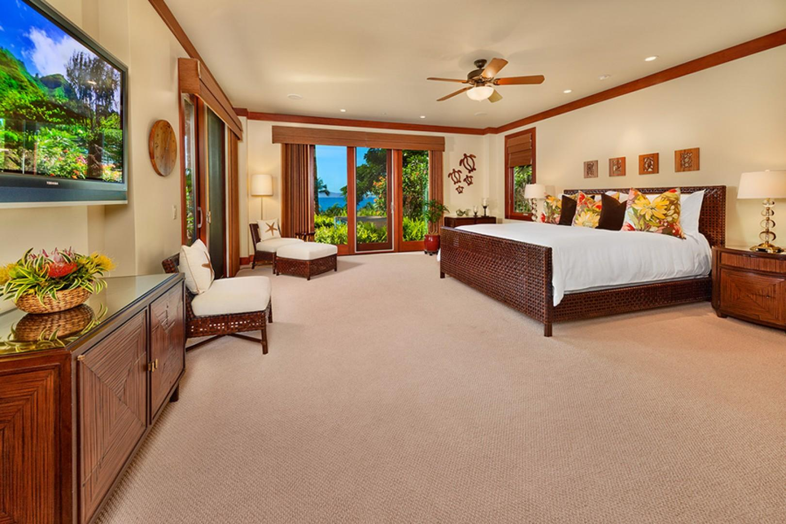 oco Palms Pool Villa D101 - Ocean View Master Bedroom with King Bed and Direct Access To Plunge Pool
