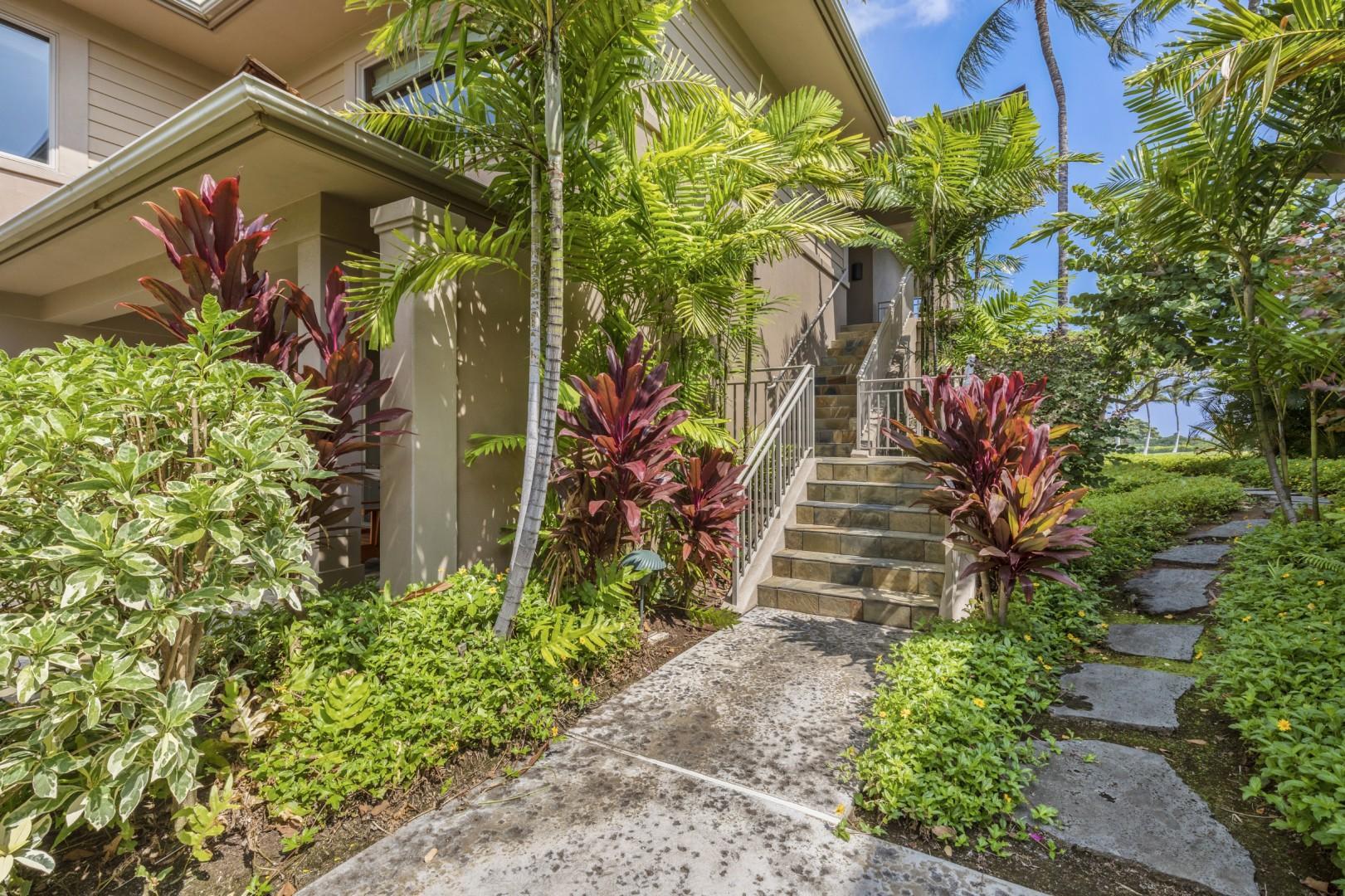 Tropically Landscaped Villa Entrance.