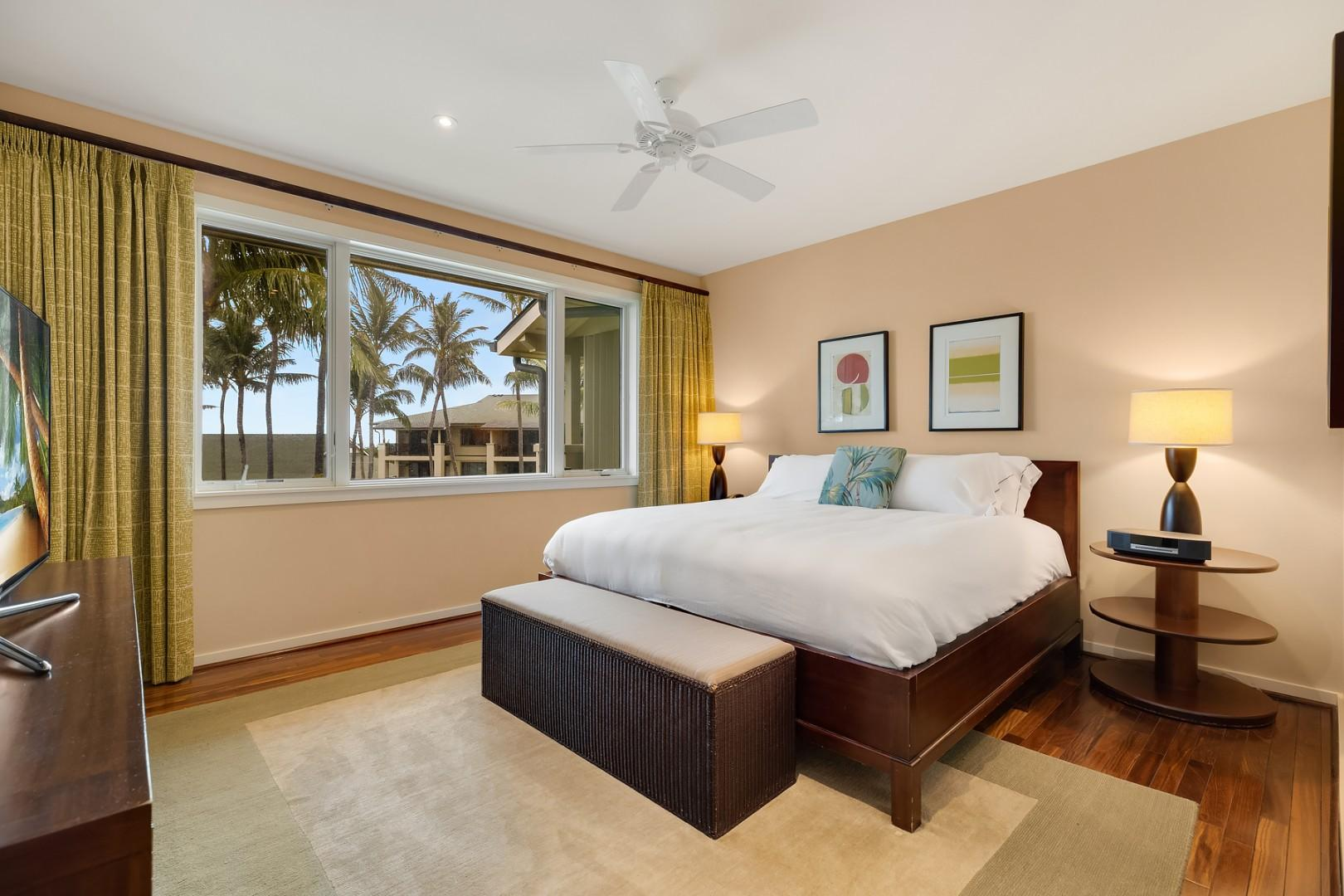 Master bedroom with views of the beach and beyond