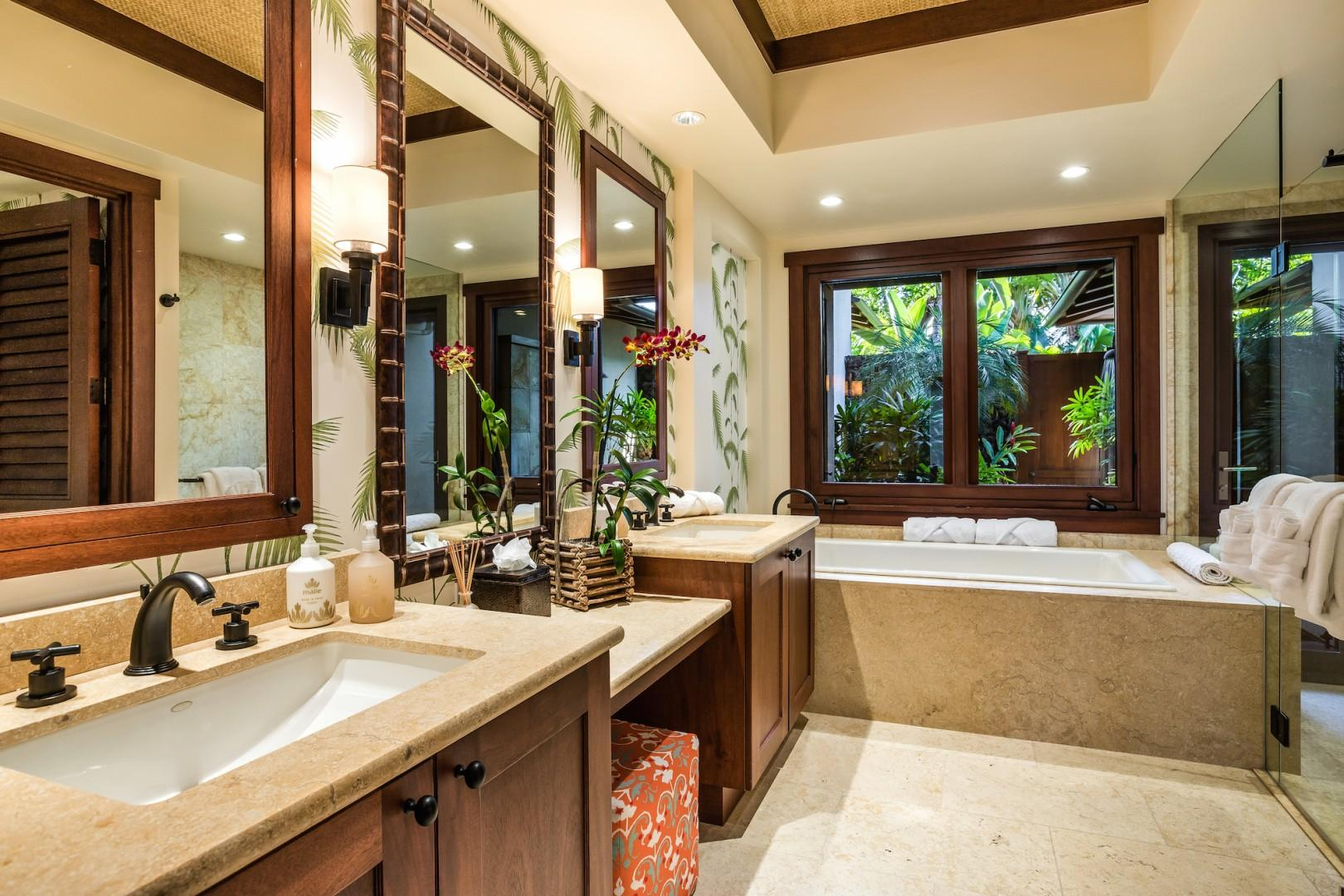 Spacious and elegant master bathroom with double vanity.