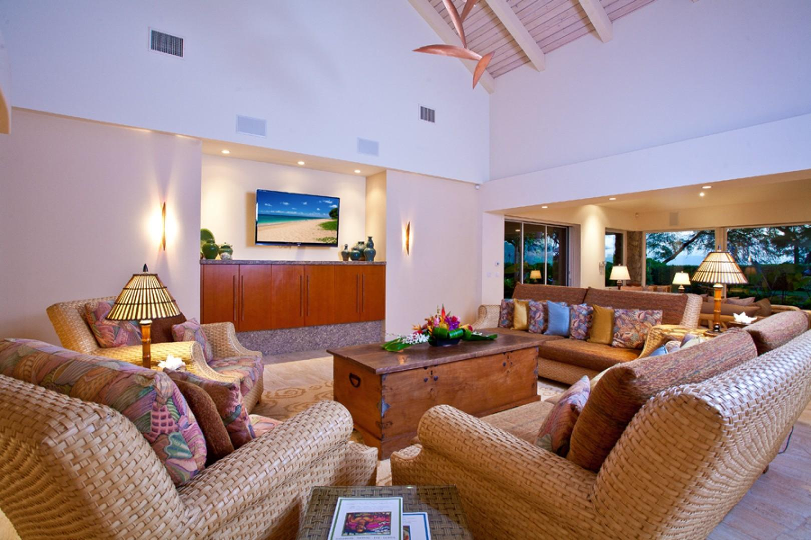 Sea Shells Beach House - The Great Room with Vaulted Ceiling and New 60