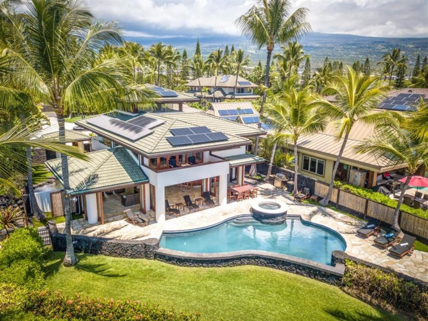 Aerial view of the pool and Lanai