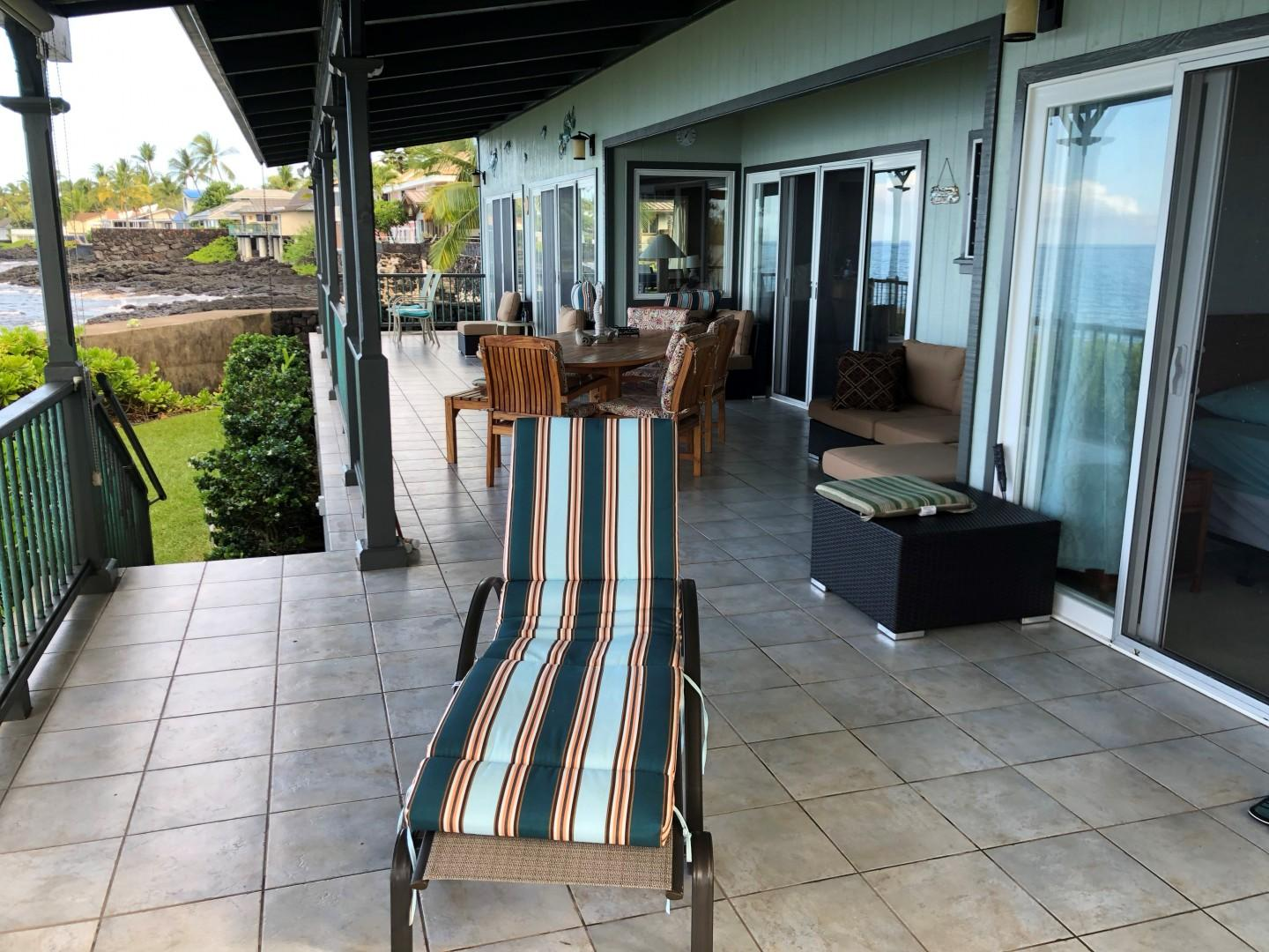 Many comfortable shaded seats on Oceanfront lanai
