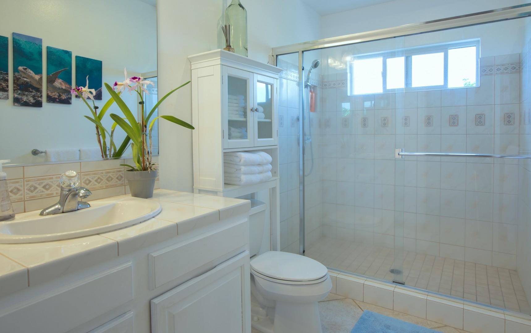 The bright and spacious second bathroom is right off the second and third bedrooms in the hallway.