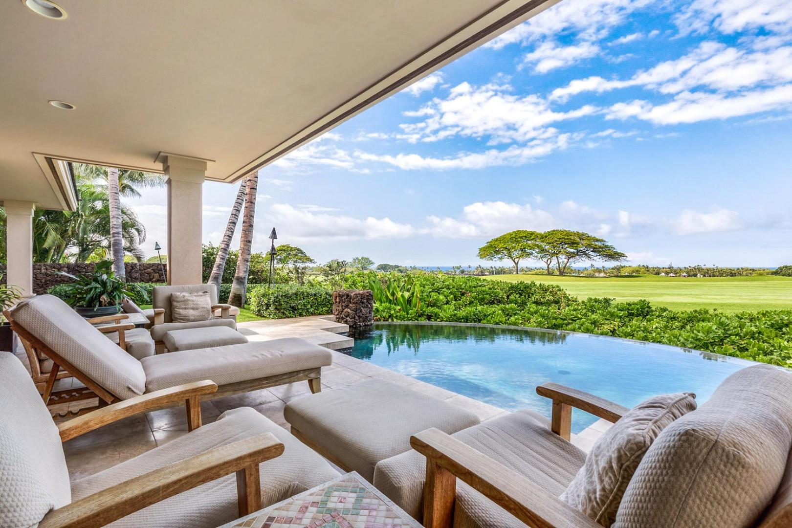 Ample pool deck lounge seating w/ocean, sunset and golf course views