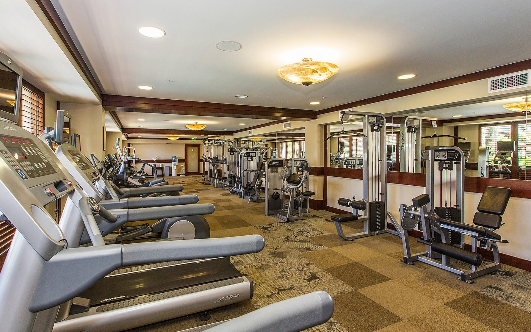 Work out in the private fitness center.  Shared locker room including dry sauna, steam room, and showers!