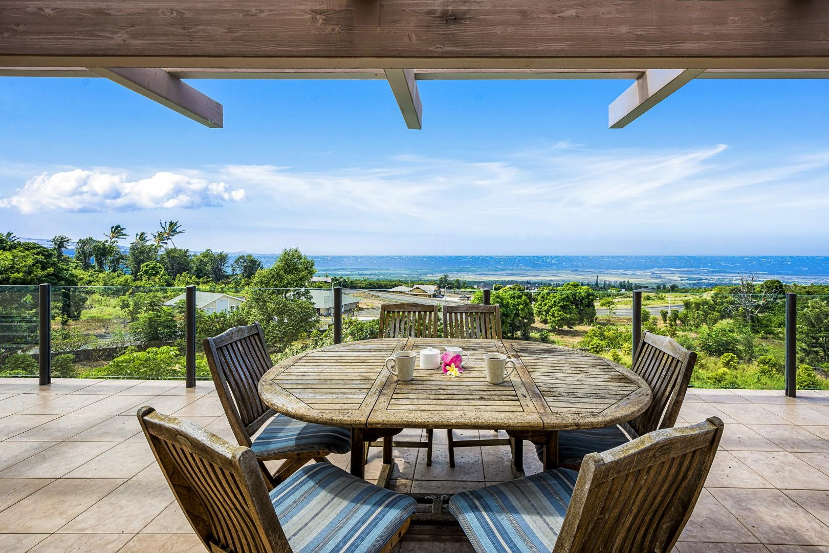 Expansive upstairs Lanai, as if the view couldn't get any better