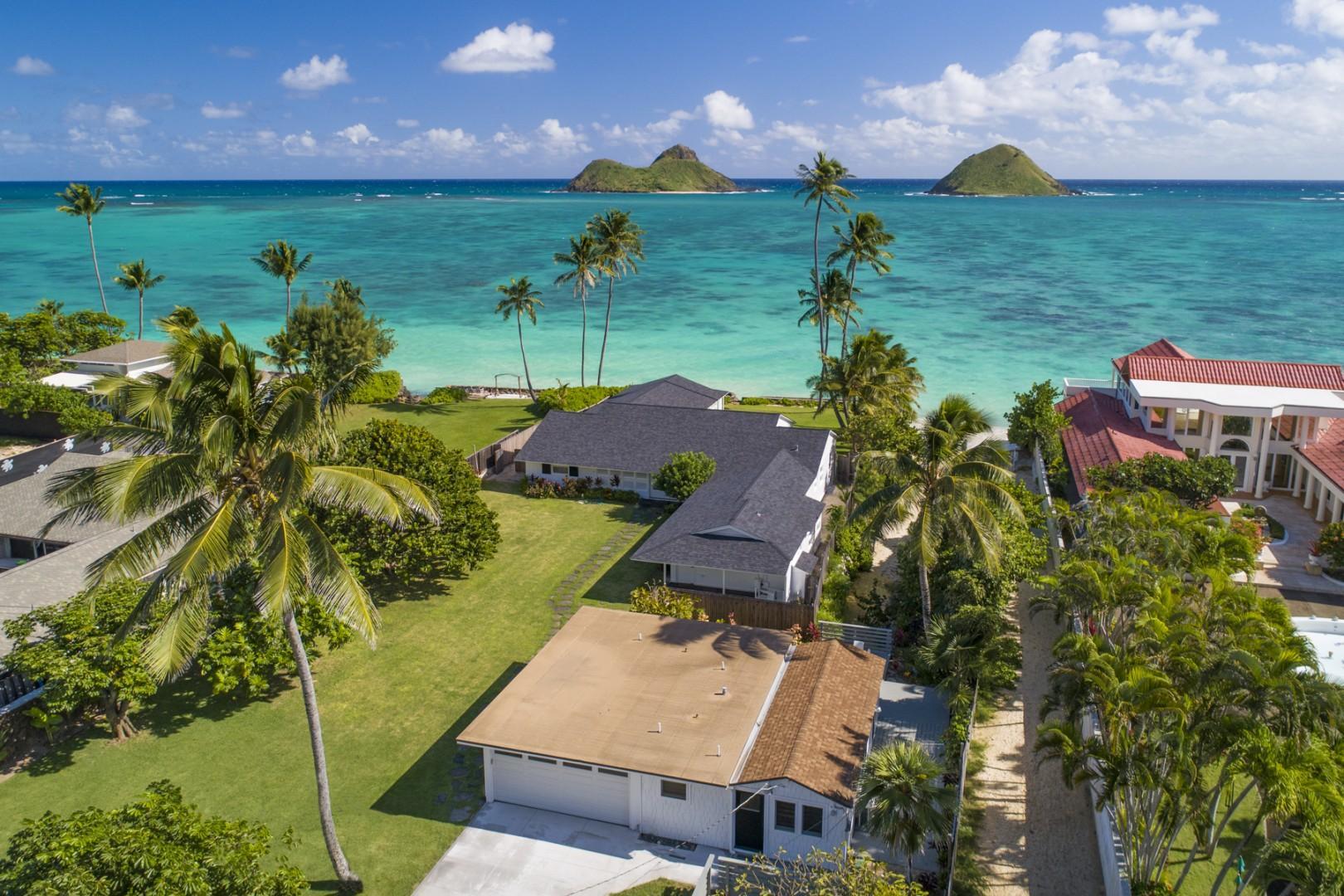 Aerial shot of Lanikai Oceanside