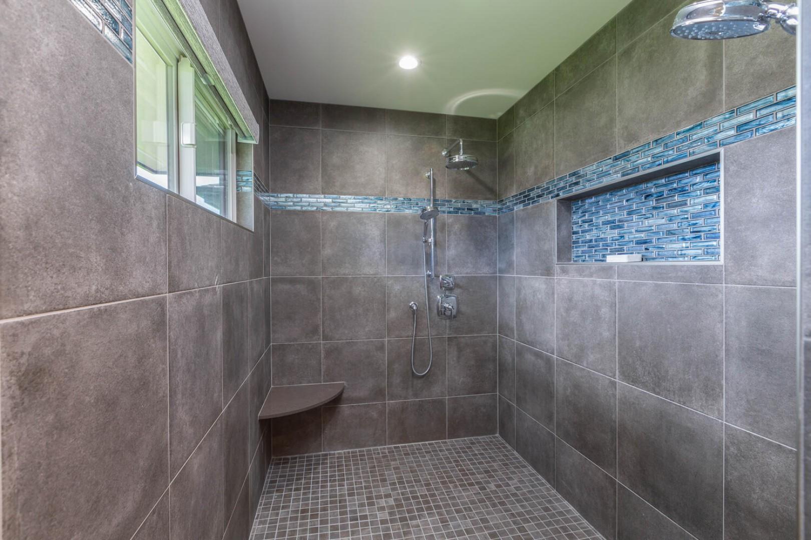 Large tile shower