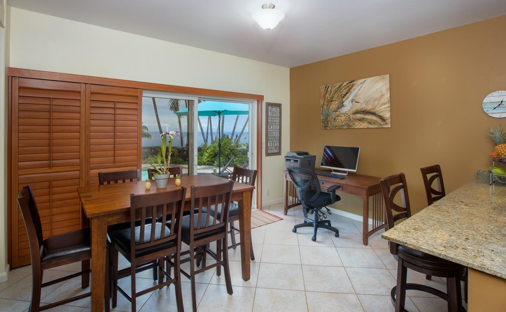 Bonus amenities: large-screen computer, wireless mouse, keyboard, and printer!