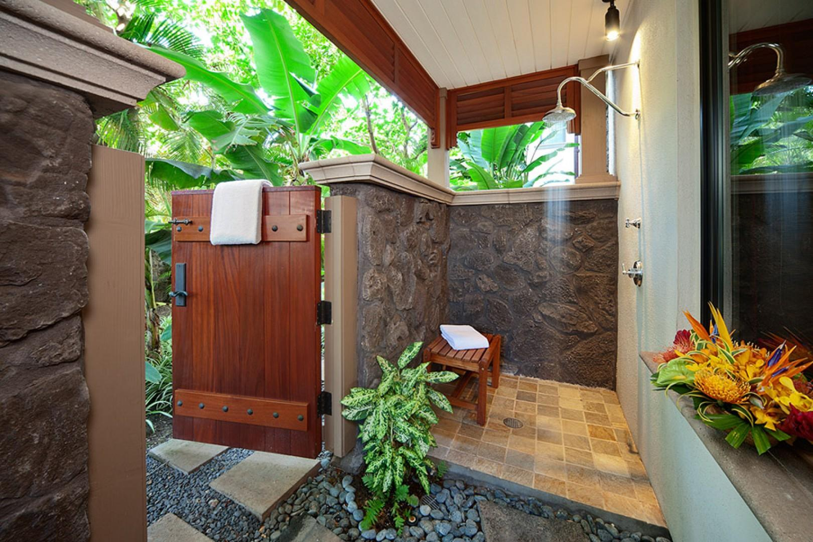 Private Outdoor Shower Grotto Off Master Bedroom - Coco Palms Pool Villa D101