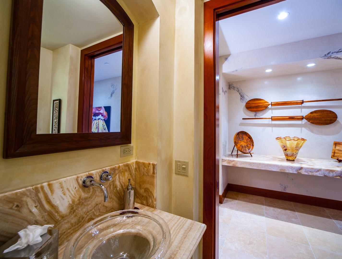 Powder Bath In Hallway with Glass Sink, Onyx Vanity, Marble Floors