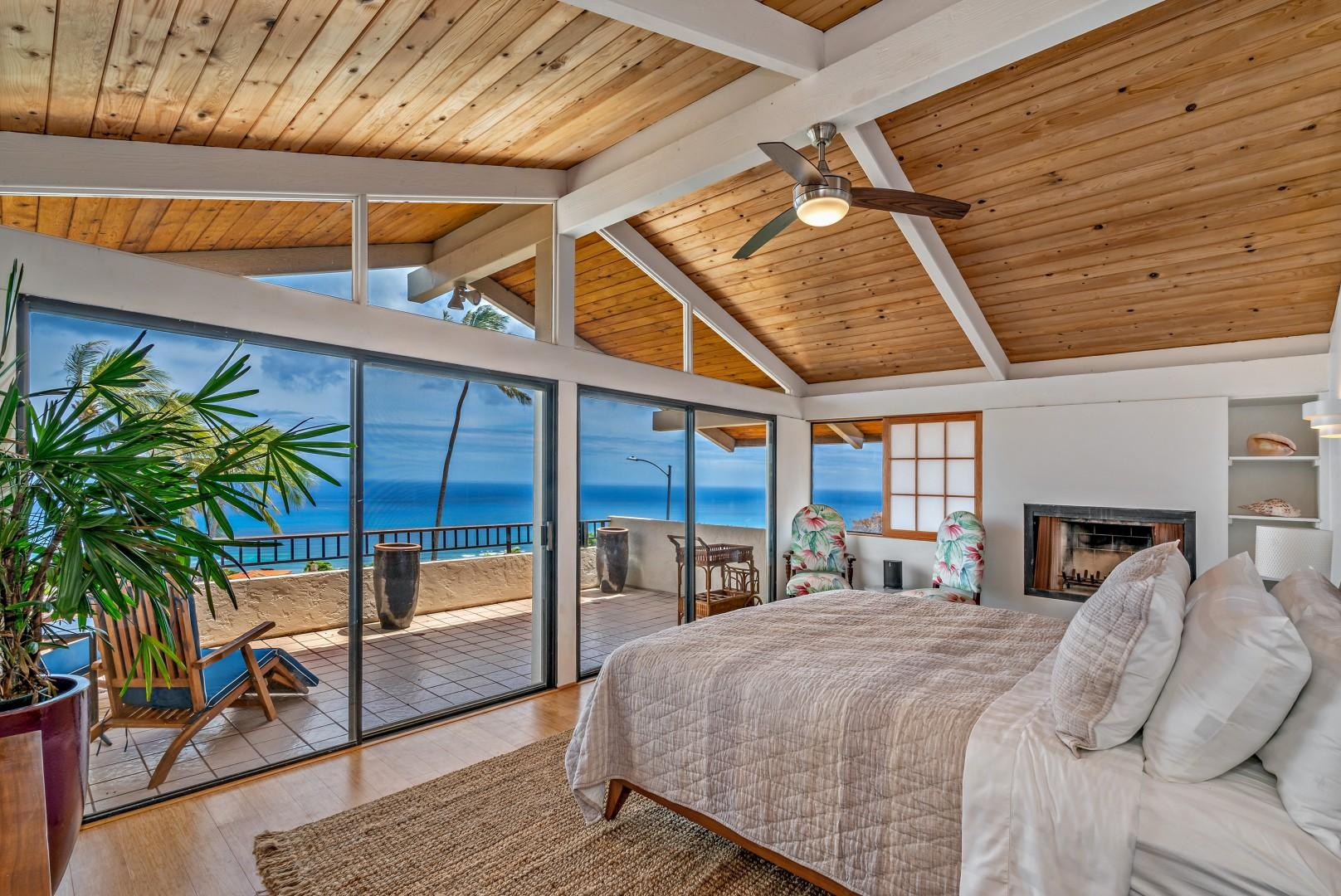 Dream away in the spacious master suite with king size bed, fireplace, spectacular views.