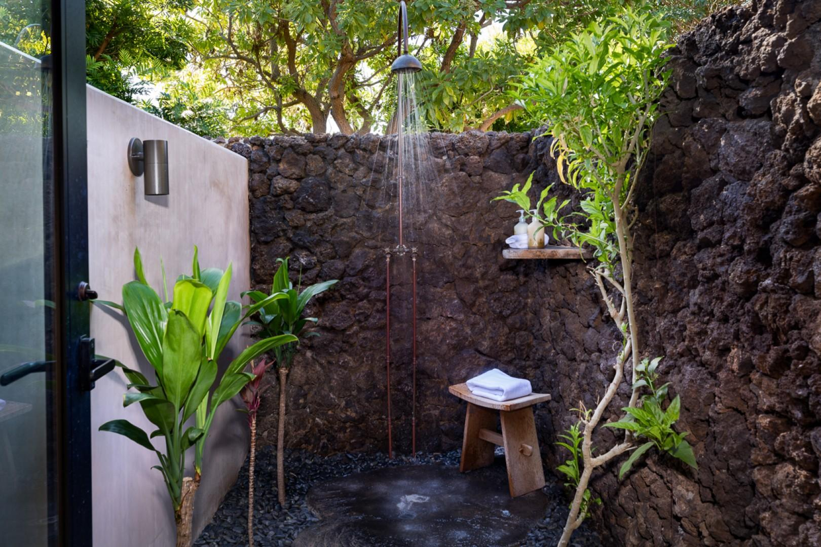 Experience the tranquility of an open-air shower garden