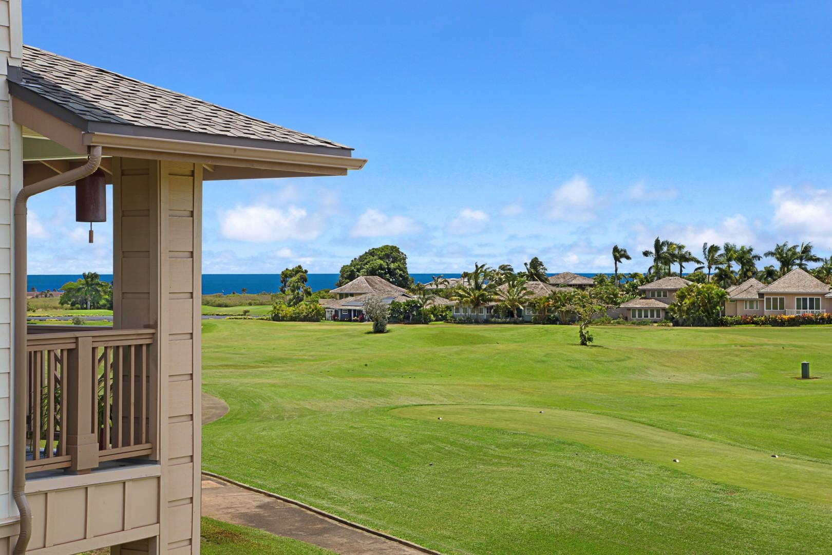 Beautiful view golf course and distant ocean views