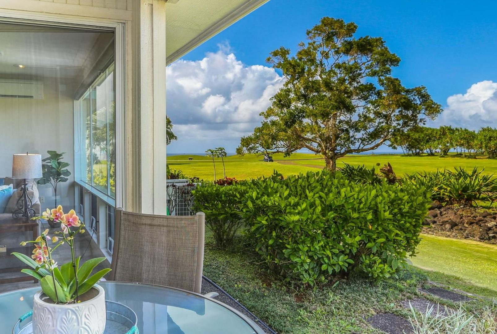 Distant ocean views from your private patio