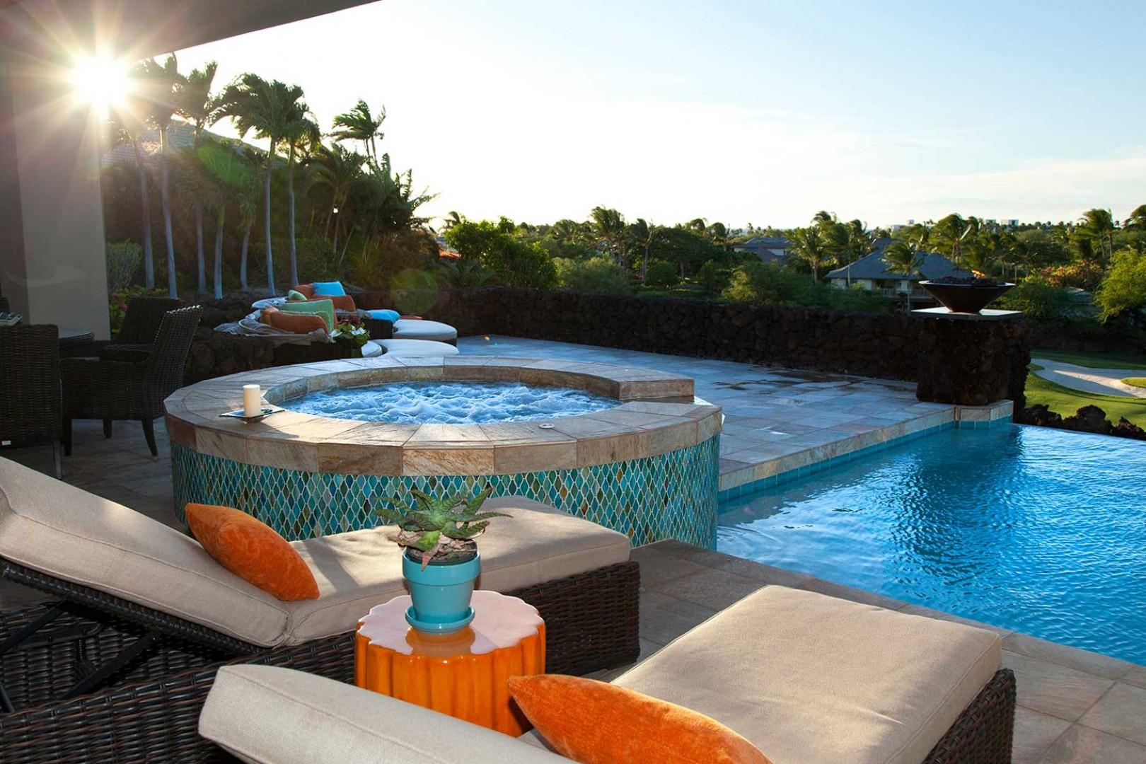 Afternoon shot of jacuzzi and pool. Relax in paradise!