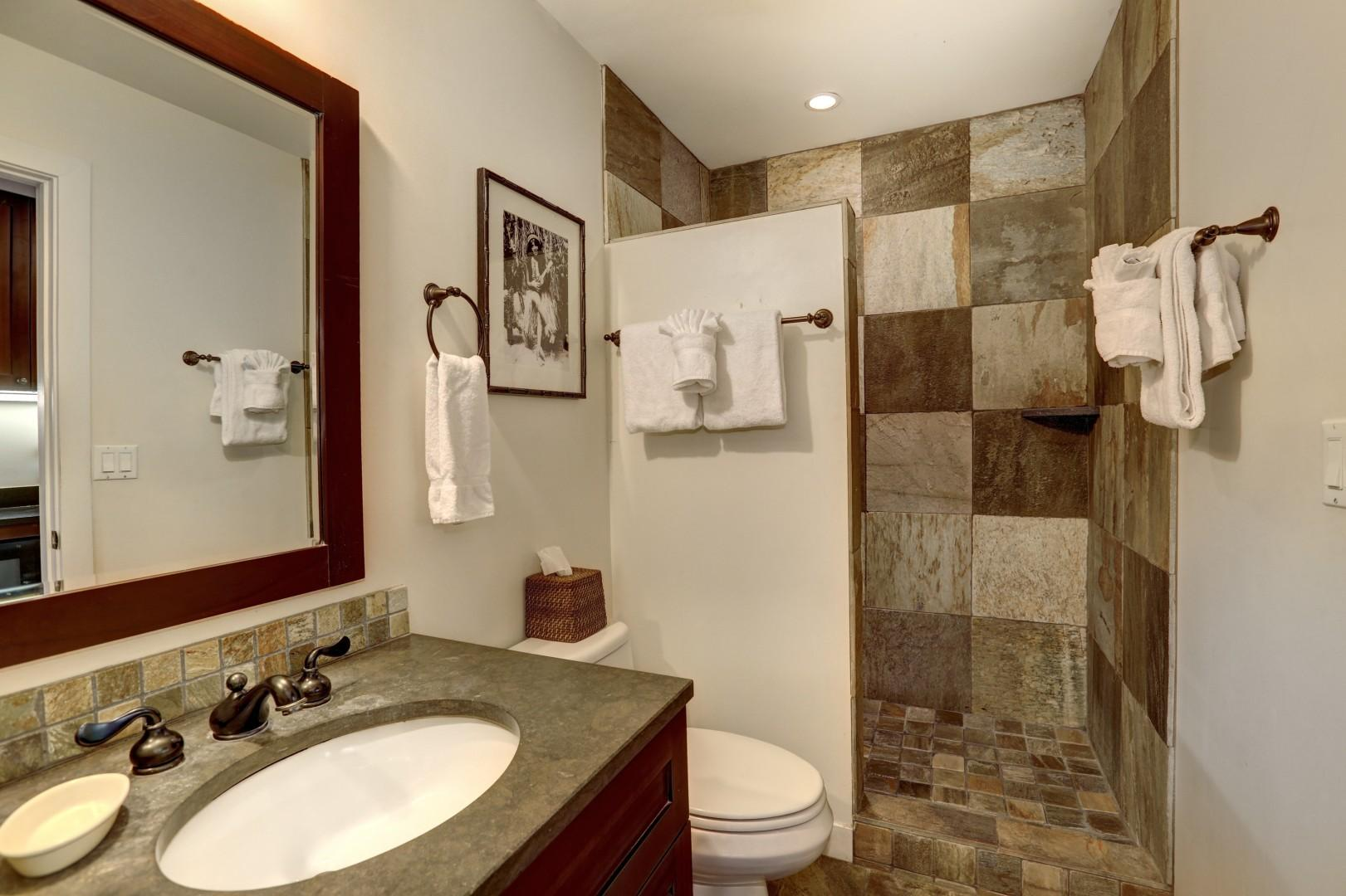 The bathroom includes a large stone-tile shower.