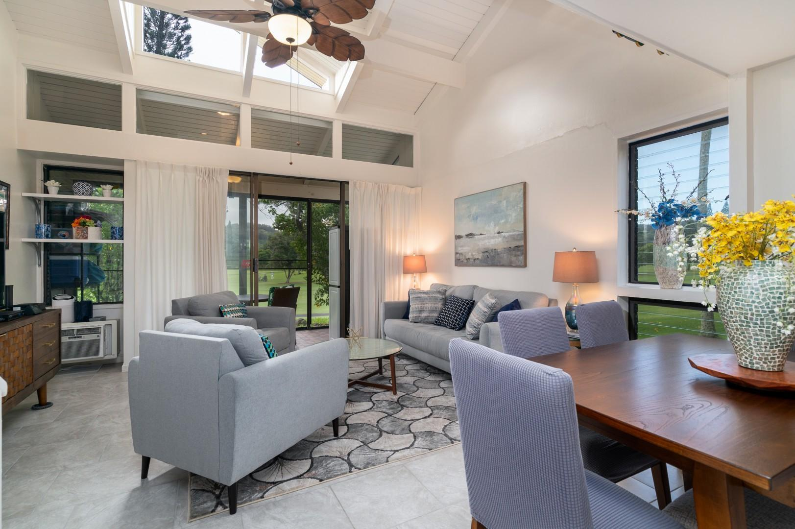 Open-concept dining and living area