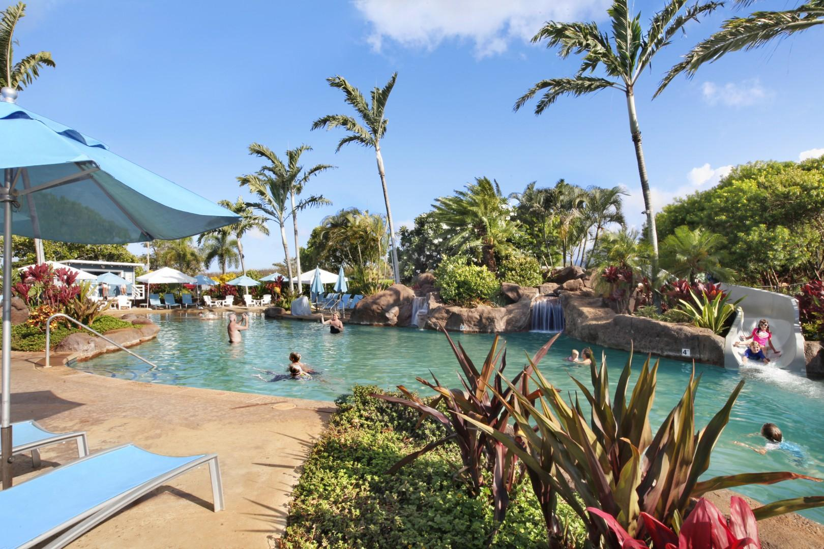 Outdoor pool / hot tub and slide at Poipu Beach Athletic Club