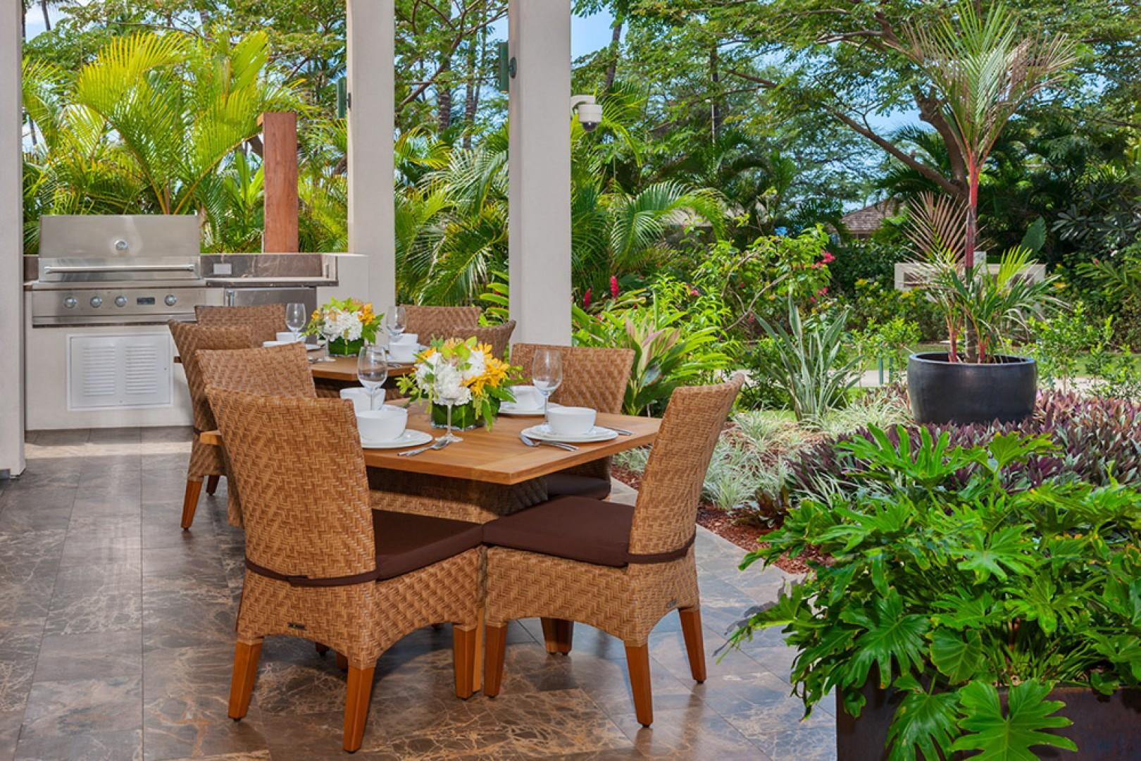 SeaGlass Villa 810 at Andaz Maui Wailea Resort - Your Own Private Paradise - A Covered Outdoor Dining Area with BBQ