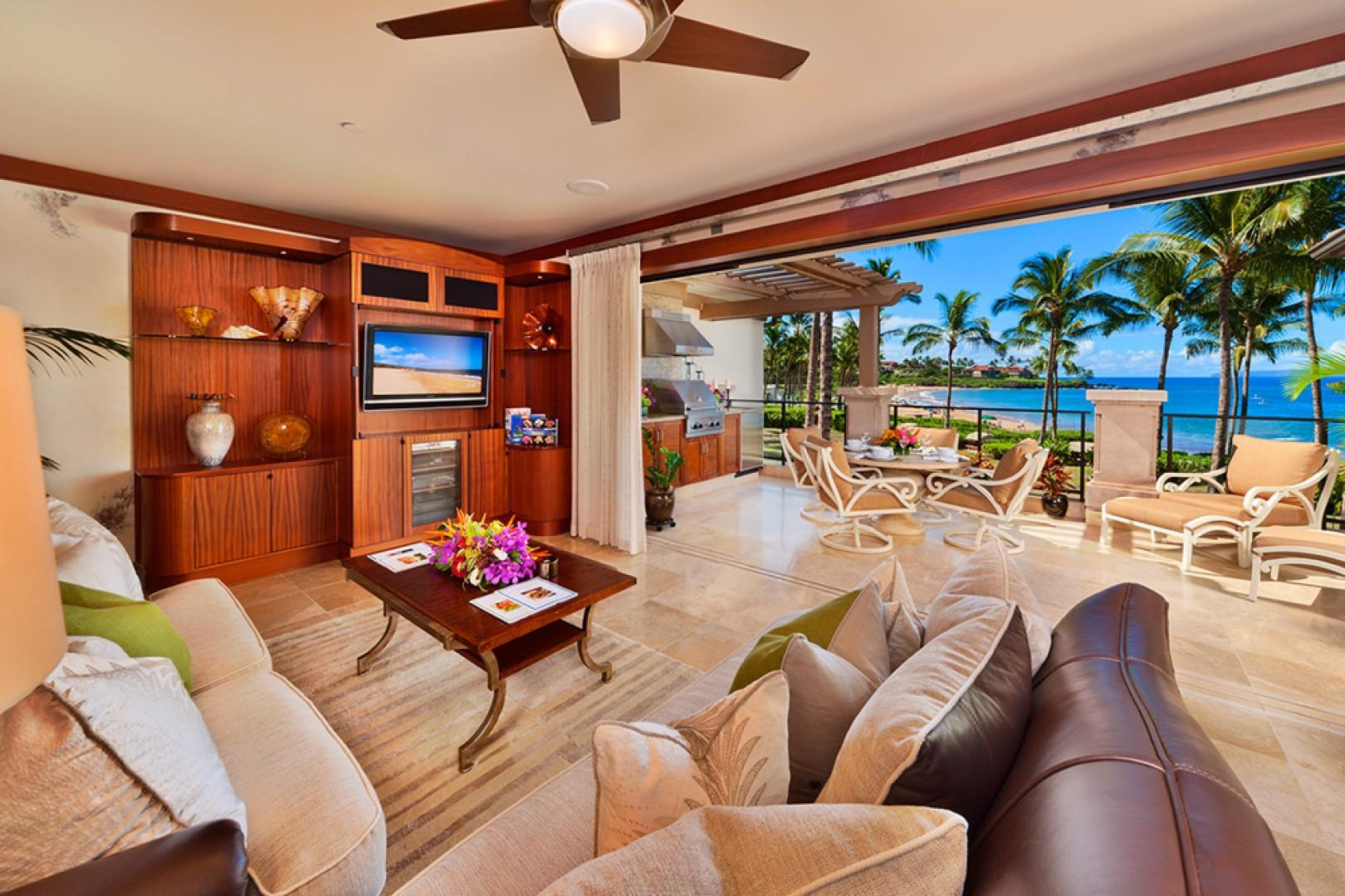 The Beautiful Great Room of A201 Royal Ilima - Looking Towards Wailea Beach. Live Plants, Custom Cabinetry, Down-Filled Furniture, Original Art, Pacific Rim and Tropical Artifacts, Gallery-Quality Decor