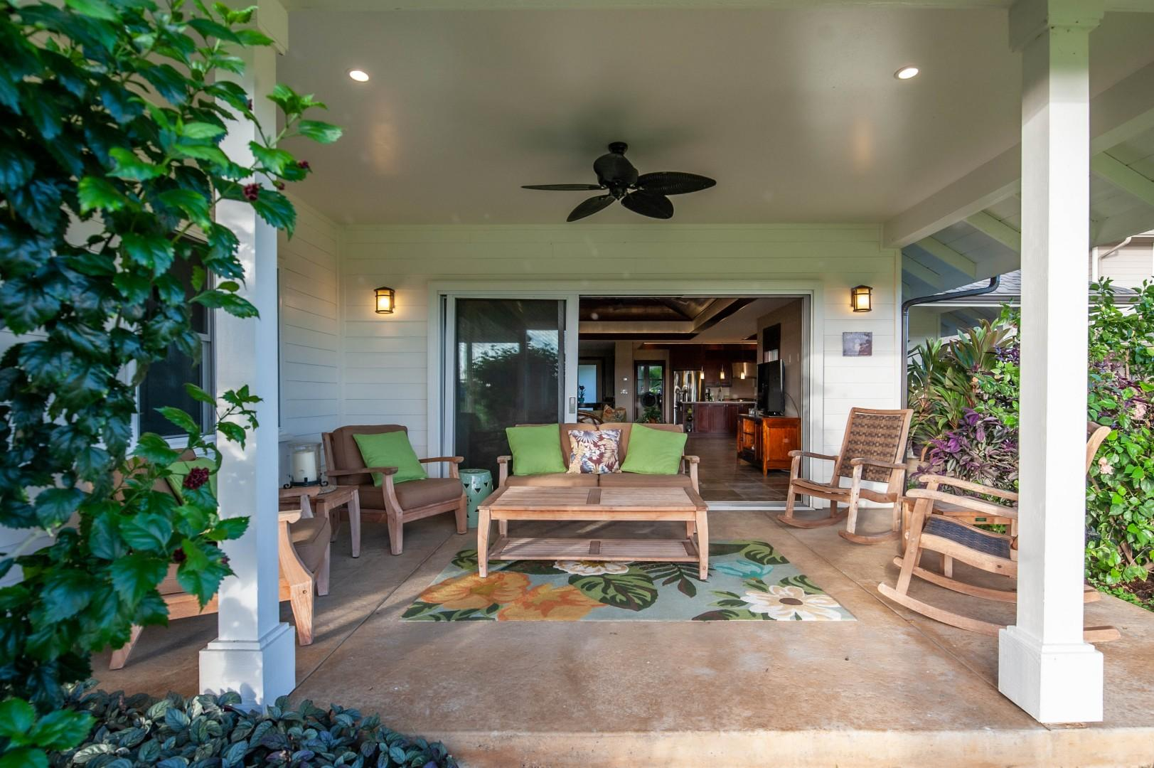 Lanai with amazing sunset and golf course views