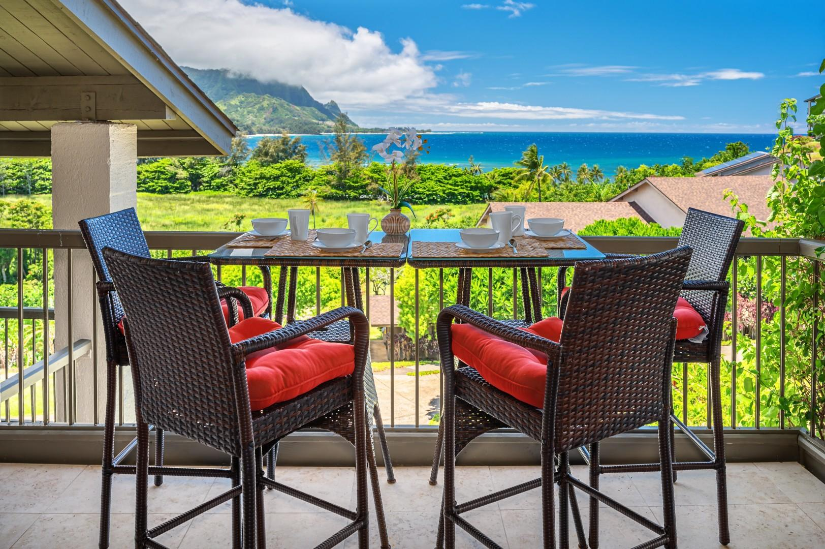 Outdoor dining with ocean and Bali Hai views.