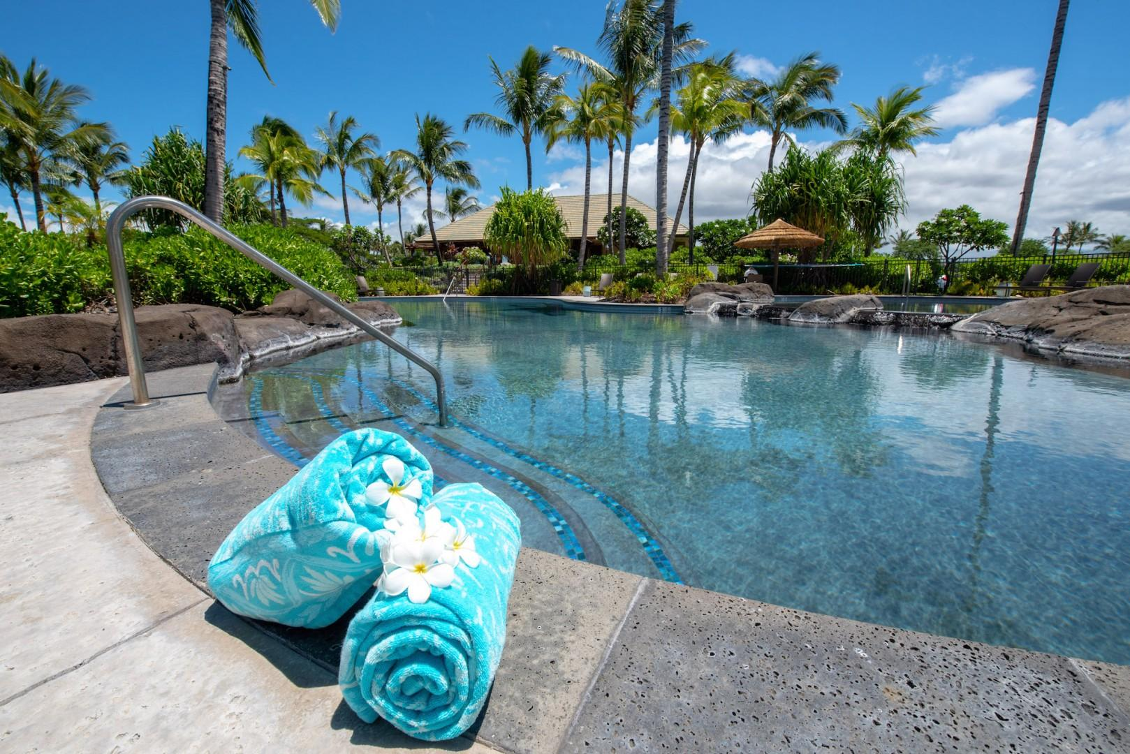 Enjoy More Swimming & Lounging Amenities at the Hana Pono Park Free-Form Swimming Pool With Jacuzzi.