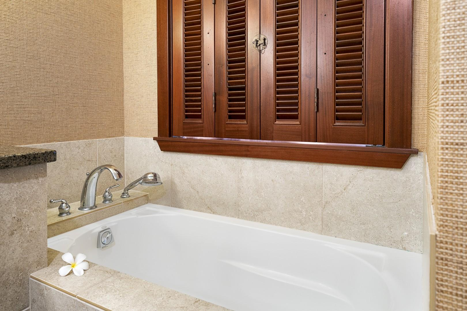 Master bathroom over sized soaking tub