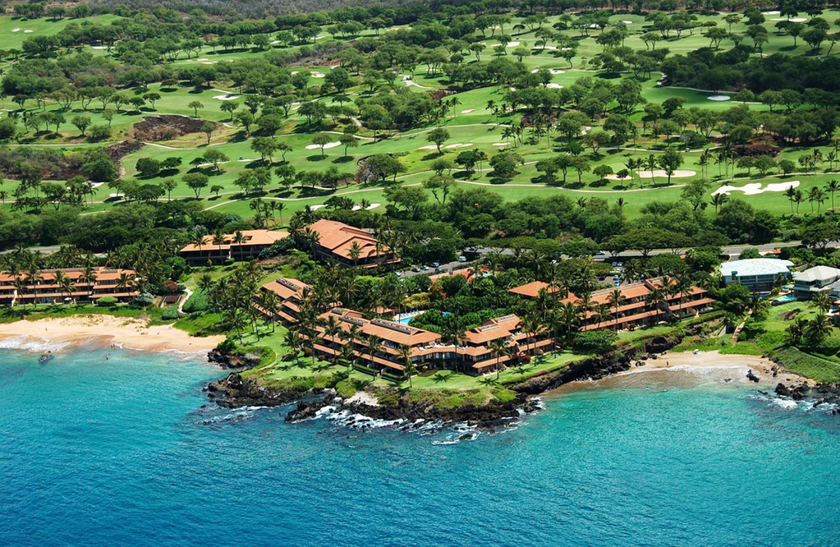 An Off-Shore Aerial View Towards Makena Surf Resort Nestled In-between Two Sandy Beaches