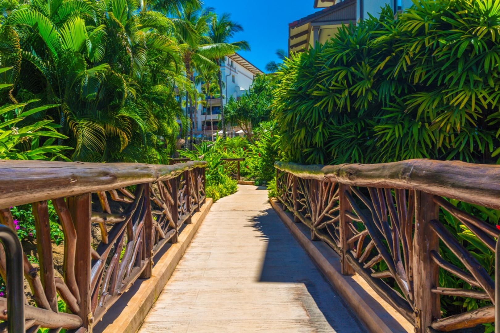 Beautiful gardens and walkways with brightly colored flowers throughout Wailea Beach Villas.