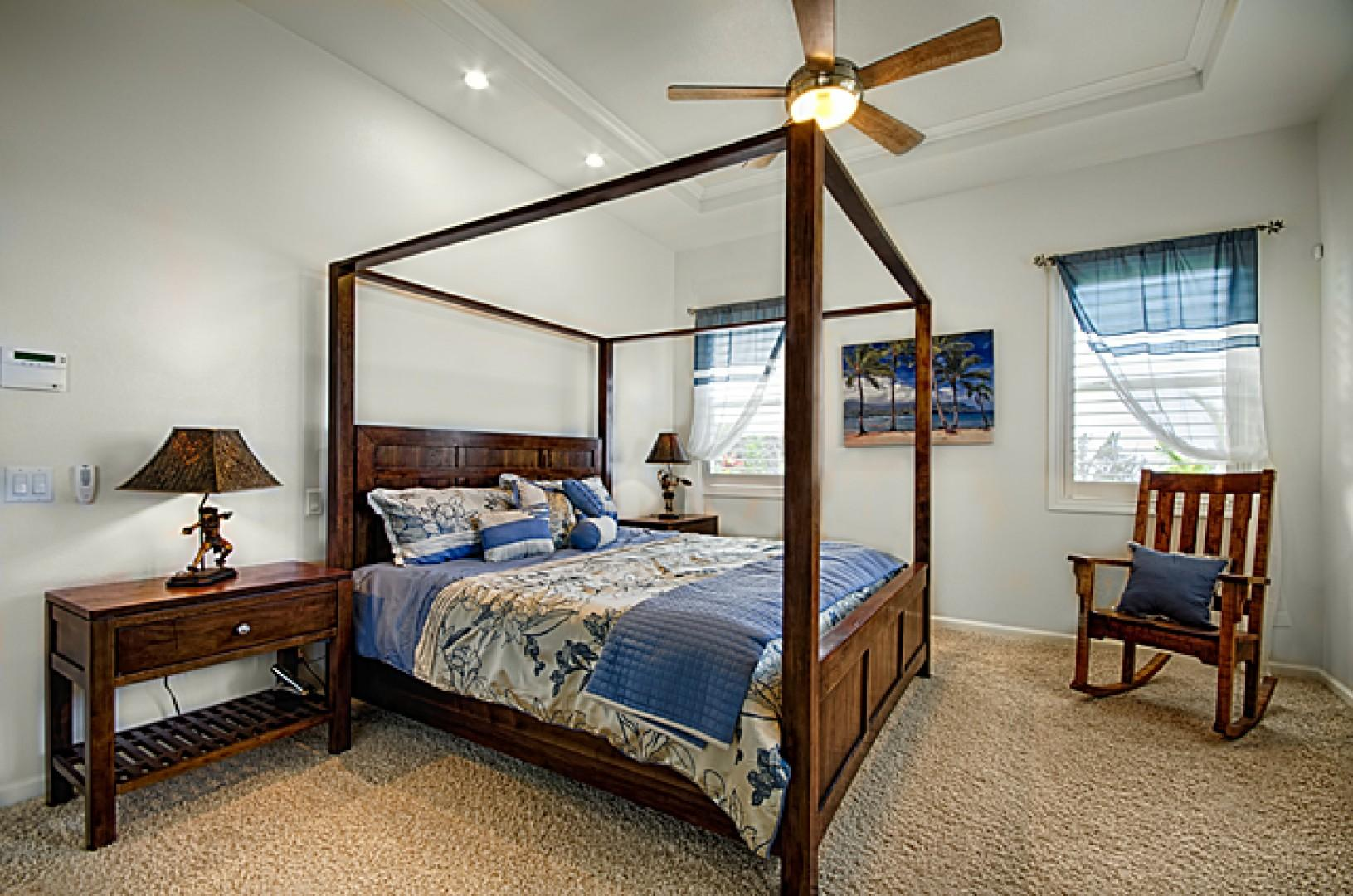 Incredibly spacious master bedroom with luxurious king size bed.