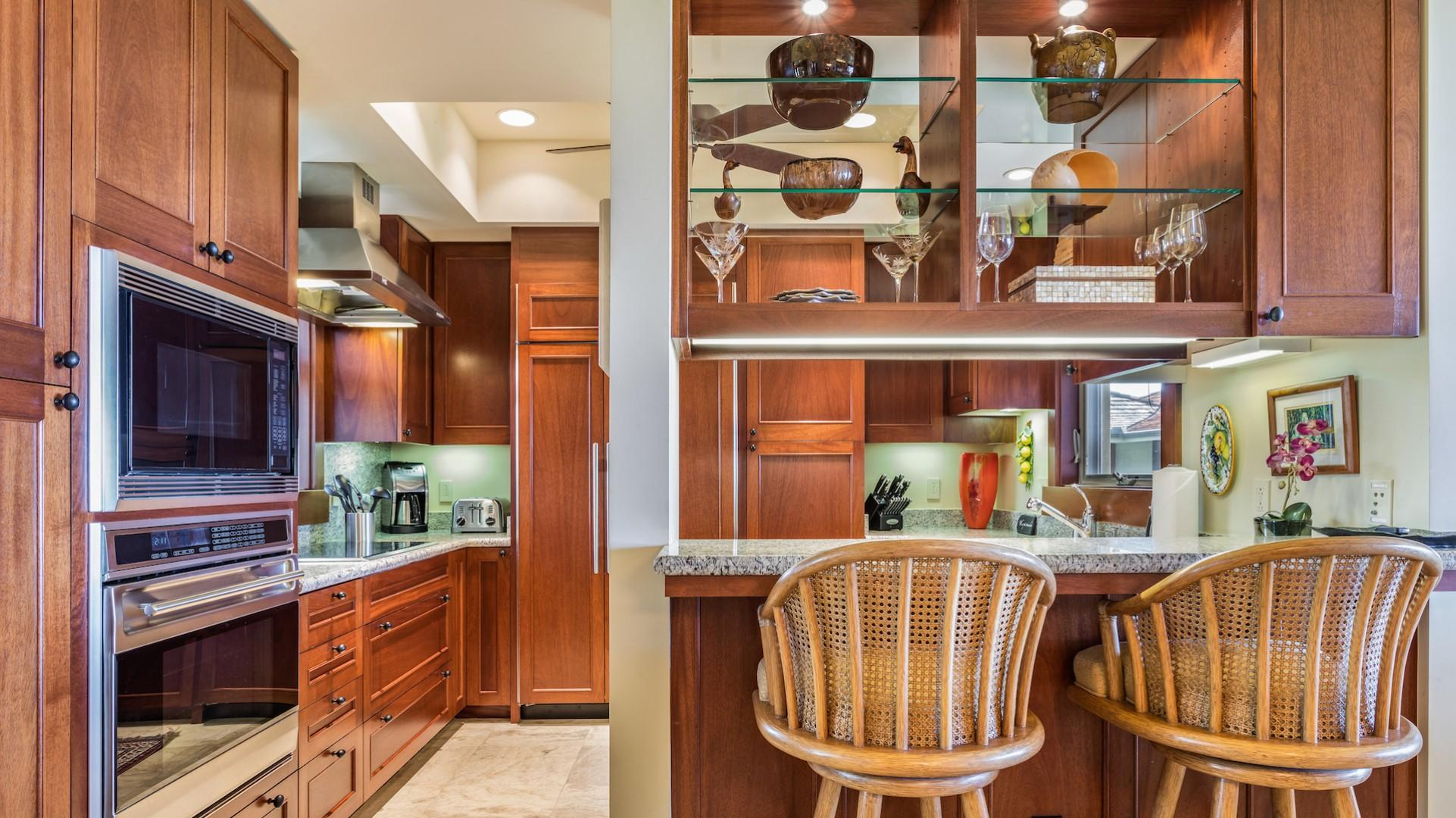 Modern Gourmet Kitchen with Bar Seating.
