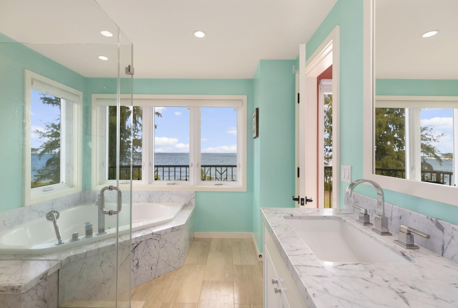 Second bedroom en suite bath, with whirlpool tub.