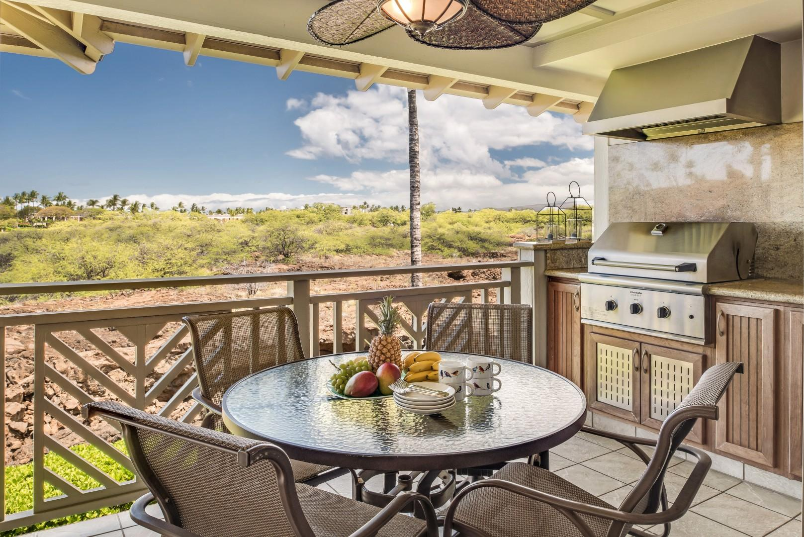 Private & Peaceful Lanai w/ Gas Grill Off Living Room Overlooks Historic Preserve, Sunsets & Peek-a-boo Ocean View