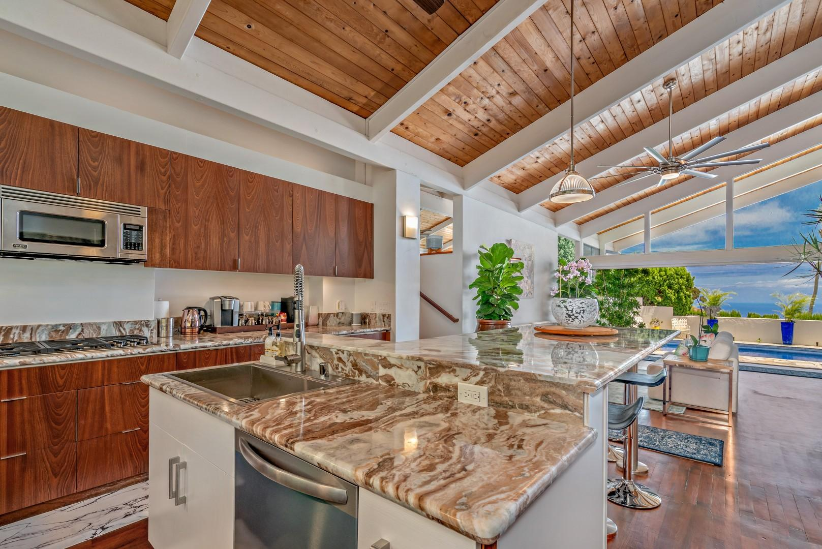 Ocean views from the kitchen.