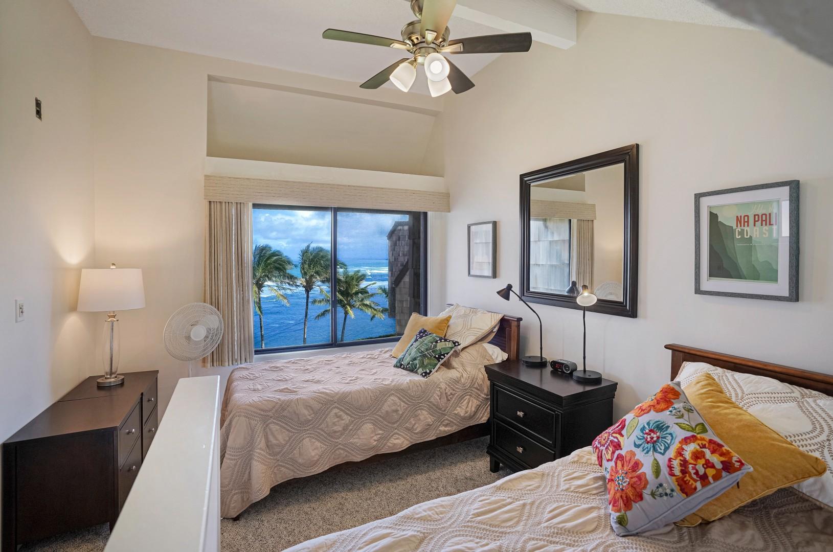 Ocean-view guest bedroom