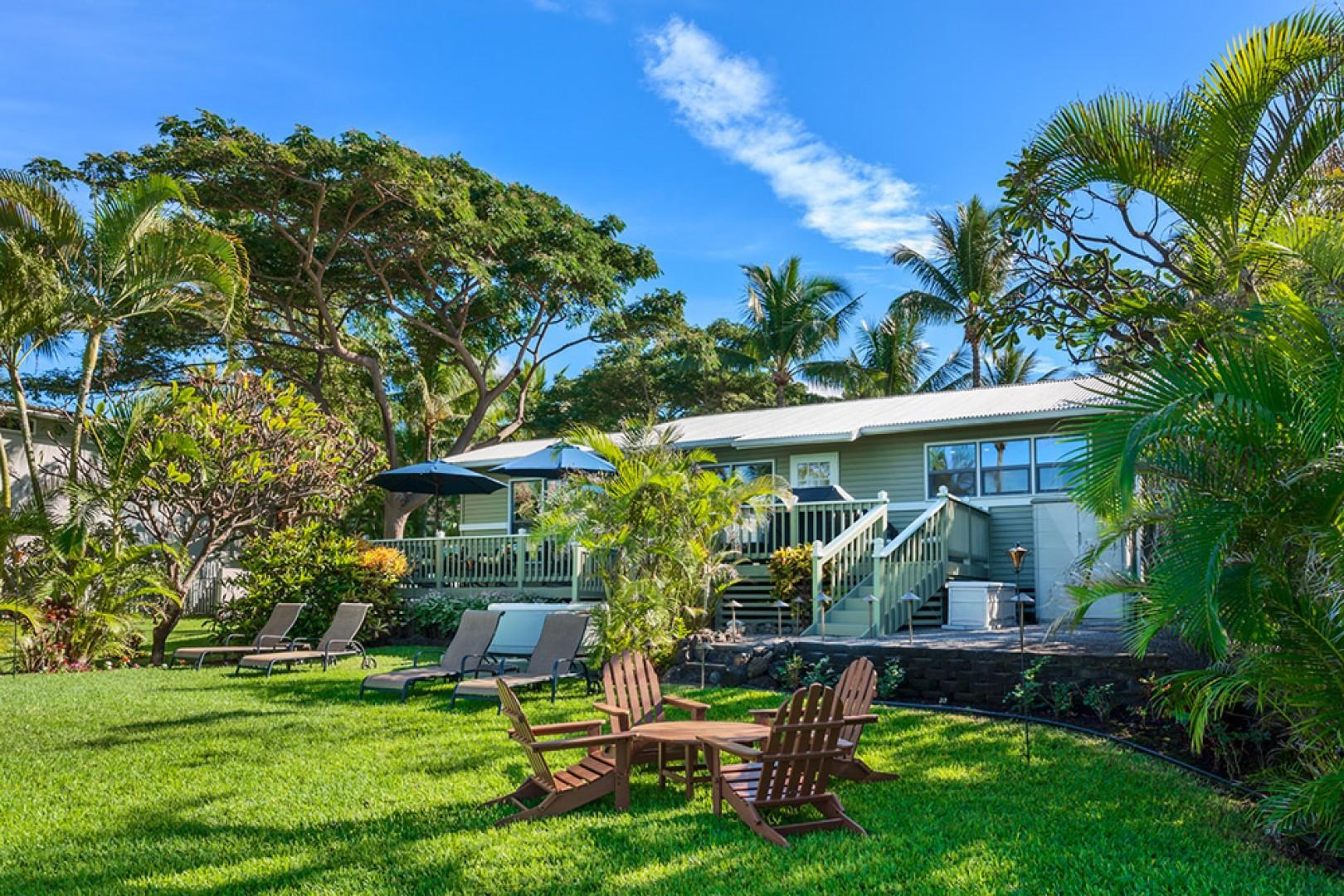 Wailea Sunset Bungalow - Ocean Front Patio with BBQ, Outdoor Dining & Lounging and Hot Tub. We also supply beach toys, tiki torches, and firewood for the beachfront campfire pit!