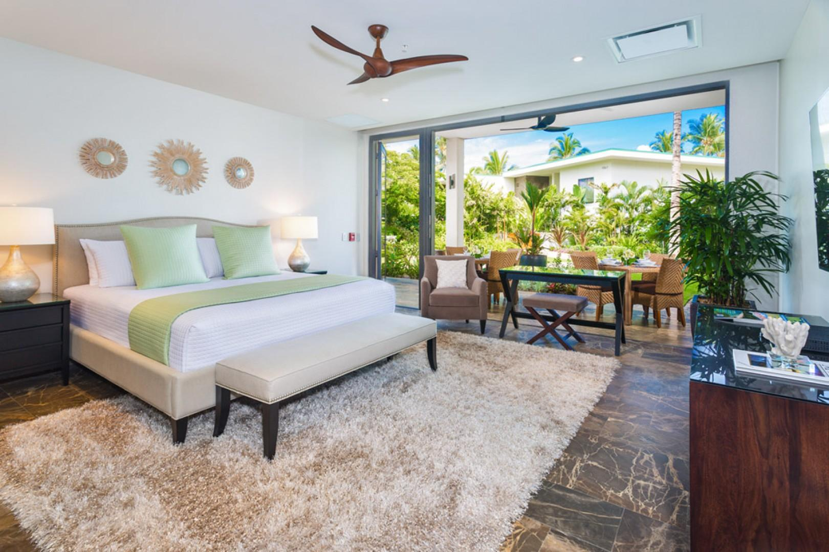 SeaGlass Villa 810 at Andaz Maui Wailea Resort - King Master Bedroom Suite with Floor-to-Ceiling Glass Sliding Doors, Desk, HDTV with Netflix and En-Suite Bath. Direct garden, pool and patio access.