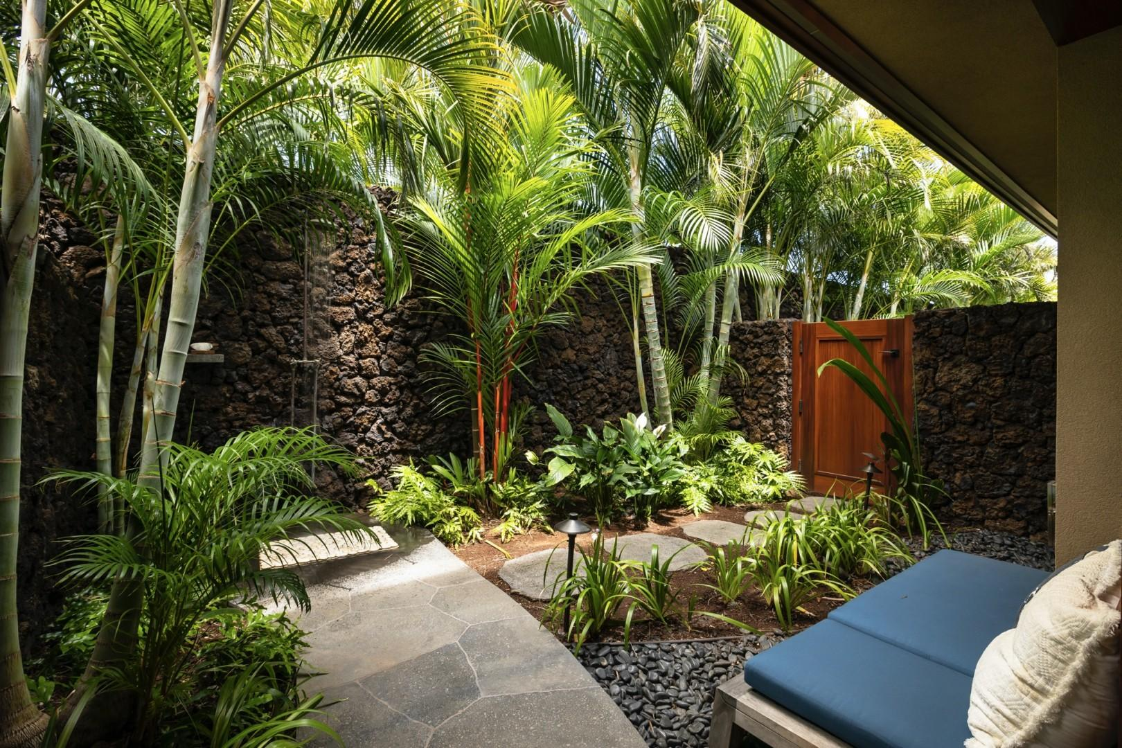 Gorgeous and generous outdoor shower garden - a truly tropical treat!