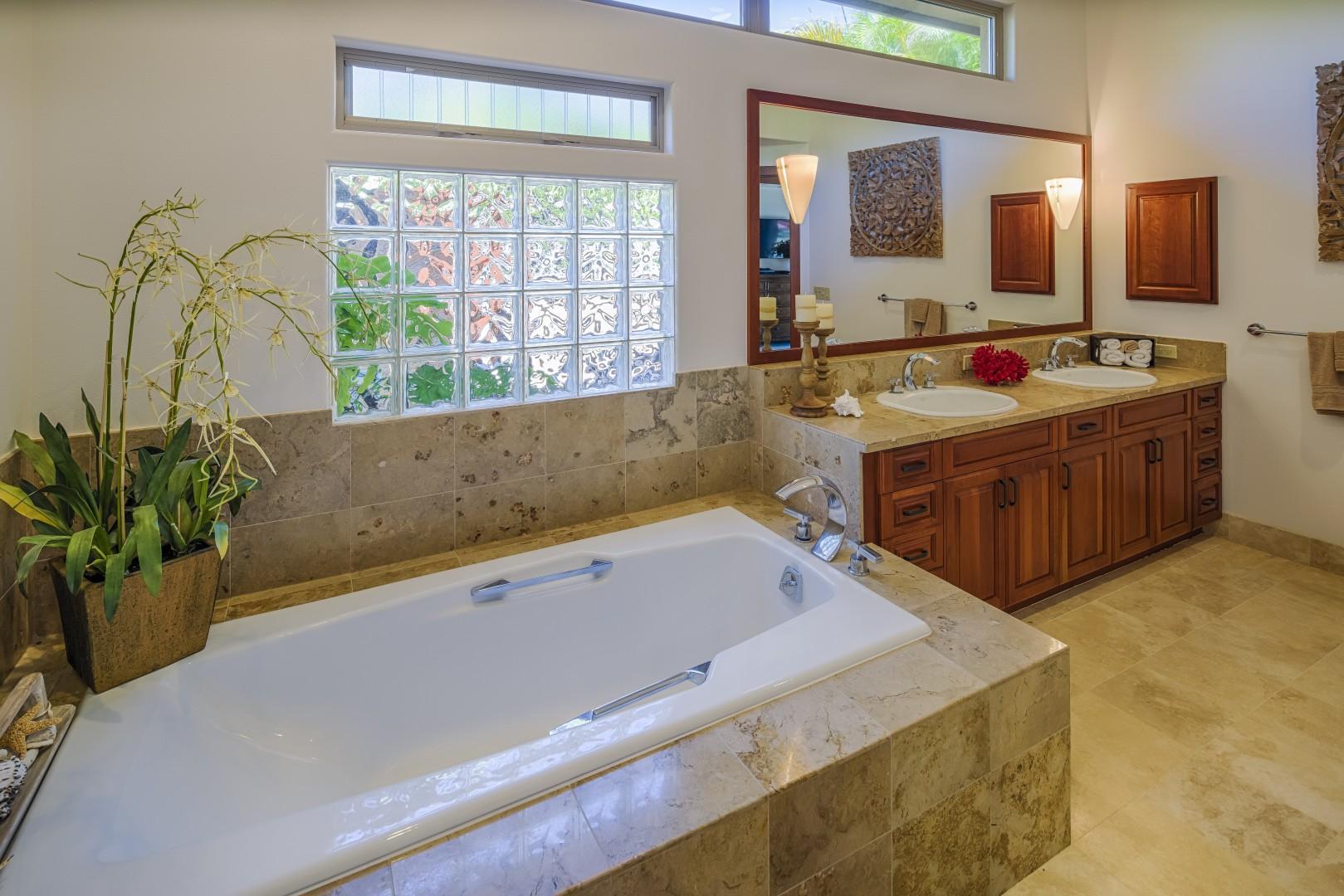 Soaking tub in master suite