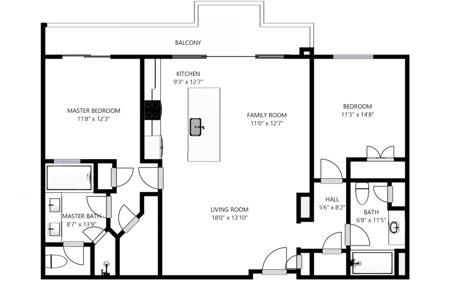 Floor plan details with all bedrooms and living areas featuring water-facing views