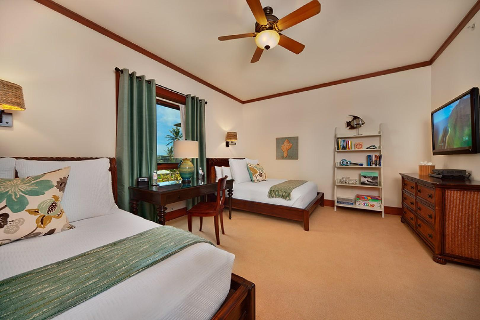 Sea Mist Villa 2403 - Bedroom Three with 2 Queen Beds with Deluxe Mattresses, Desk & Chair, iPod Dock, HD Television & HD Cable, HD CD/DVD, Dual Alarm Clocks, Private En-suite Bath