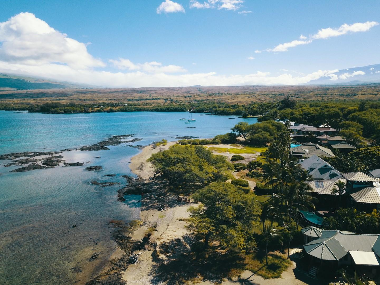 Ariel View of Beautiful Puako Bay and Surrounding Kohala and Mauna Kea Mountains