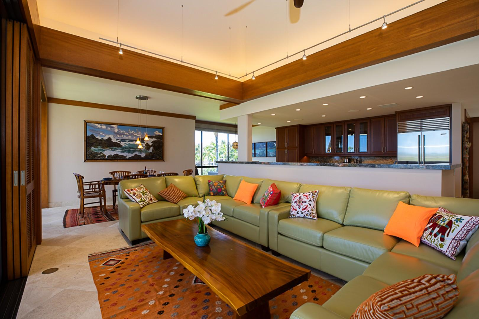 Spacious Living Room with Elevated Ceiling
