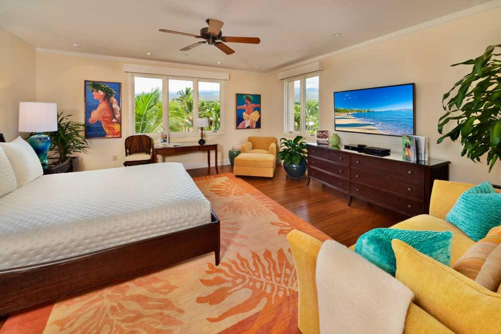 K507 Wailea Seashore Suite - Haleakala Mountain View Master Bedroom Suite with Cal King Bed, Original Art, Large Samsung 3D HDTV, DVD Player, HD Cable Box, iPod Dock, Apple TV, Desk, Sofa, Arm Chair