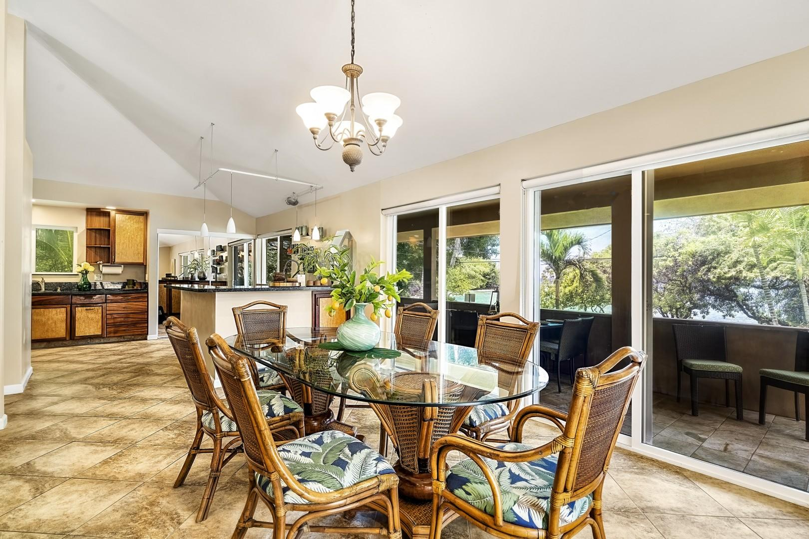 Indoor dining area with A/C and tropical styling
